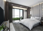 1BR Living area Bedroom area